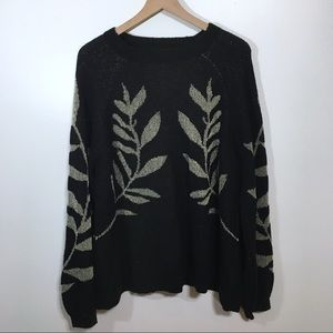 Lucky Brand Black and Gold Pullover Sweater, 3X